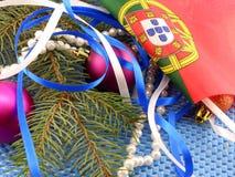 Σημαία της Πορτογαλίας, διακόσμηση Χριστουγέννων, νέα κάρτα έτους Στοκ φωτογραφία με δικαίωμα ελεύθερης χρήσης