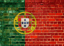 Σημαία της Πορτογαλίας σε έναν τουβλότοιχο Στοκ Εικόνα