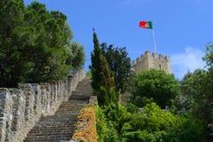 Σημαία της Πορτογαλίας, Castle São Jorge, Λισσαβώνα Στοκ Εικόνες
