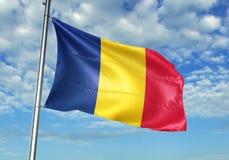 Σημαία της Ρουμανίας που κυματίζει με τον ουρανό στη ρεαλιστική τρισδιάστατη απεικόνιση υποβάθρου απεικόνιση αποθεμάτων