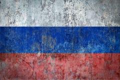Σημαία της Ρωσίας που χρωματίζεται σε έναν τοίχο Στοκ Φωτογραφία