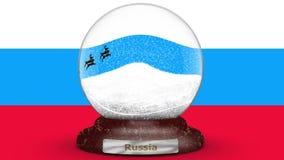 Σημαία της Ρωσίας στη σφαίρα χιονιού φιλμ μικρού μήκους