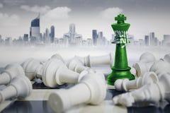 Σημαία της Σαουδικής Αραβίας με τα άσπρα κομμάτια σκακιού Στοκ Φωτογραφίες