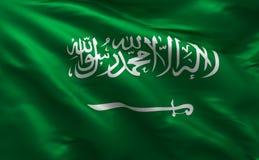 Σημαία της Σαουδικής Αραβίας, σαουδικό υλικό υπόβαθρο μεταξιού, τρισδιάστατη απόδοση διανυσματική απεικόνιση