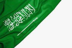 Σημαία της Σαουδικής Αραβίας του υφάσματος με το copyspace για το κείμενό σας στο άσπρο υπόβαθρο ελεύθερη απεικόνιση δικαιώματος