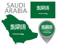 Σημαία της Σαουδικής Αραβίας, χάρτης και δείκτης χαρτών διανυσματική απεικόνιση