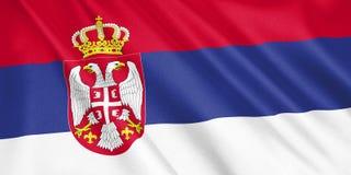 Σημαία της Σερβίας που κυματίζει με τον αέρα Στοκ Εικόνες