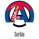Σημαία της Σερβίας του κόσμου υπό μορφή σημαδιού της αναρχίας διανυσματική απεικόνιση