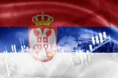 Σημαία της Σερβίας, χρηματιστήριο, οικονομία ανταλλαγής και εμπόριο, παραγωγή πετρελαίου, σκάφος εμπορευματοκιβωτίων στην εξαγωγή απεικόνιση αποθεμάτων