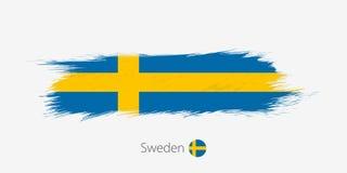 Σημαία της Σουηδίας, grunge αφηρημένο κτύπημα βουρτσών στο γκρίζο υπόβαθρο διανυσματική απεικόνιση