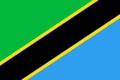 Σημαία της Τανζανίας επίπεδη Στοκ Εικόνες
