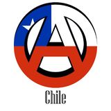 Σημαία της Χιλής του κόσμου υπό μορφή σημαδιού της αναρχίας απεικόνιση αποθεμάτων