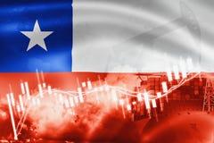 Σημαία της Χιλής, χρηματιστήριο, οικονομία ανταλλαγής και εμπόριο, παραγωγή πετρελαίου, σκάφος εμπορευματοκιβωτίων στην εξαγωγή κ ελεύθερη απεικόνιση δικαιώματος