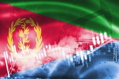 Σημαία της Eritrea, χρηματιστήριο, οικονομία ανταλλαγής και εμπόριο, παραγωγή πετρελαίου, σκάφος εμπορευματοκιβωτίων στην εξαγωγή απεικόνιση αποθεμάτων