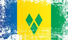 Σημαία του Άγιου Βικεντίου και Γρεναδίνες Ζαρωμένα βρώμικα σημεία απεικόνιση αποθεμάτων