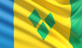 Σημαία του Άγιου Βικεντίου και Γρεναδίνες Κυματισμένη ιδιαίτερα λεπτομερής σύσταση υφάσματος r διανυσματική απεικόνιση
