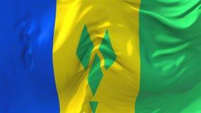 237 Σημαία του Άγιου Βικεντίου και Γρεναδίνες που κυματίζει το άνευ ραφής υπόβαθρο βρόχων ελεύθερη απεικόνιση δικαιώματος