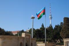 σημαία του Αζερμπαϊτζάν ε&thet Στοκ Εικόνες