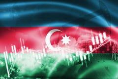 Σημαία του Αζερμπαϊτζάν, χρηματιστήριο, οικονομία ανταλλαγής και εμπόριο, παραγωγή πετρελαίου, σκάφος εμπορευματοκιβωτίων στην επ ελεύθερη απεικόνιση δικαιώματος
