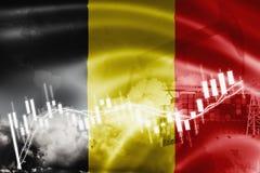 Σημαία του Βελγίου, χρηματιστήριο, οικονομία ανταλλαγής και εμπόριο, παραγωγή πετρελαίου, σκάφος εμπορευματοκιβωτίων στην εξαγωγή ελεύθερη απεικόνιση δικαιώματος