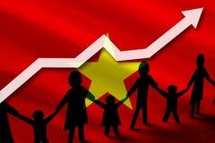 Σημαία του Βιετνάμ σε ένα υπόβαθρο ενός βέλους ανάπτυξης επάνω και των ανθρώπων με τα παιδιά που κρατούν τα χέρια διανυσματική απεικόνιση