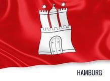Σημαία του γερμανικού κράτους Αμβούργο που κυματίζει σε ένα απομονωμένο άσπρο υπόβαθρο Στοκ Φωτογραφίες