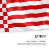 Σημαία του γερμανικού κράτους Βρέμη που κυματίζει σε ένα απομονωμένο άσπρο υπόβαθρο Κρατικό όνομα και η περιοχή κειμένων για το μ Στοκ φωτογραφία με δικαίωμα ελεύθερης χρήσης