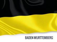 Σημαία του γερμανικού κράτους baden-WÃ ¼ rttemberg που κυματίζει σε ένα απομονωμένο άσπρο υπόβαθρο Στοκ Φωτογραφίες