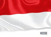 Σημαία του γερμανικού κράτους Hesse που κυματίζει σε ένα απομονωμένο άσπρο υπόβαθρο Στοκ φωτογραφία με δικαίωμα ελεύθερης χρήσης