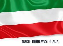 Σημαία του γερμανικού κρατικού North Rhine-Westphalia που κυματίζει σε ένα απομονωμένο άσπρο υπόβαθρο Στοκ φωτογραφία με δικαίωμα ελεύθερης χρήσης