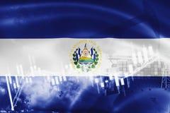 Σημαία του Ελ Σαλβαδόρ, χρηματιστήριο, οικονομία ανταλλαγής και εμπόριο, παραγωγή πετρελαίου, σκάφος εμπορευματοκιβωτίων στην επι ελεύθερη απεικόνιση δικαιώματος