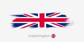 Σημαία του Ηνωμένου Βασιλείου, grunge αφηρημένο κτύπημα βουρτσών στο γκρίζο υπόβαθρο διανυσματική απεικόνιση
