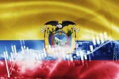 Σημαία του Ισημερινού, χρηματιστήριο, οικονομία ανταλλαγής και εμπόριο, παραγωγή πετρελαίου, σκάφος εμπορευματοκιβωτίων στην εξαγ διανυσματική απεικόνιση