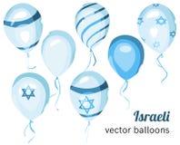 Σημαία του Ισραήλ στο μπαλόνι Διανυσματικά ισραηλινά μπαλόνια Στοκ Εικόνες