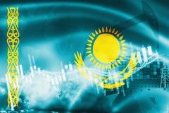 Σημαία του Καζακστάν, χρηματιστήριο, οικονομία ανταλλαγής και εμπόριο, παραγωγή πετρελαίου, σκάφος εμπορευματοκιβωτίων στην επιχε ελεύθερη απεικόνιση δικαιώματος
