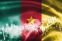 Σημαία του Καμερούν, χρηματιστήριο, οικονομία ανταλλαγής και εμπόριο, παραγωγή πετρελαίου, σκάφος εμπορευματοκιβωτίων στην επιχεί διανυσματική απεικόνιση