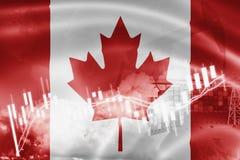 Σημαία του Καναδά, χρηματιστήριο, οικονομία ανταλλαγής και εμπόριο, παραγωγή πετρελαίου, σκάφος εμπορευματοκιβωτίων στην εξαγωγή  διανυσματική απεικόνιση