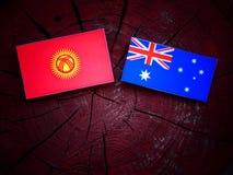 Σημαία του Κιργιστάν με την αυστραλιανή σημαία σε ένα κολόβωμα δέντρων που απομονώνεται Στοκ φωτογραφίες με δικαίωμα ελεύθερης χρήσης