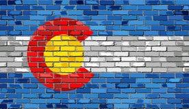 Σημαία του Κολοράντο σε έναν τουβλότοιχο ελεύθερη απεικόνιση δικαιώματος