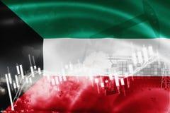 Σημαία του Κουβέιτ, χρηματιστήριο, οικονομία ανταλλαγής και εμπόριο, παραγωγή πετρελαίου, σκάφος εμπορευματοκιβωτίων στην εξαγωγή απεικόνιση αποθεμάτων
