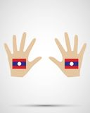 Σημαία του Λάος σχεδίου χεριών Στοκ Φωτογραφίες