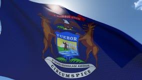 Σημαία του Μίτσιγκαν που κυματίζει στον αέρα απόθεμα βίντεο