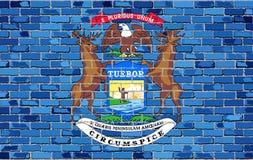 Σημαία του Μίτσιγκαν σε έναν τουβλότοιχο διανυσματική απεικόνιση