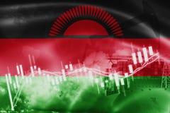 Σημαία του Μαλάουι, χρηματιστήριο, οικονομία ανταλλαγής και εμπόριο, παραγωγή πετρελαίου, σκάφος εμπορευματοκιβωτίων στην εξαγωγή ελεύθερη απεικόνιση δικαιώματος