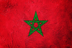 Σημαία του Μαρόκου Grunge Σημαία του Μαρόκου με τη σύσταση grunge Στοκ Εικόνες