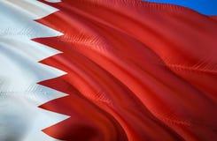 Σημαία του Μπαχρέιν τρισδιάστατο σχέδιο σημαιών κυματισμού Το εθνικό σύμβολο του Μπαχρέιν, τρισδιάστατη απόδοση Εθνικά χρώματα το διανυσματική απεικόνιση