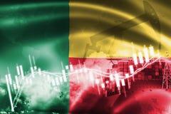 Σημαία του Μπενίν, χρηματιστήριο, οικονομία ανταλλαγής και εμπόριο, παραγωγή πετρελαίου, σκάφος εμπορευματοκιβωτίων στην εξαγωγή  ελεύθερη απεικόνιση δικαιώματος