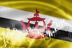 Σημαία του Μπρουνέι, χρηματιστήριο, οικονομία ανταλλαγής και εμπόριο, παραγωγή πετρελαίου, σκάφος εμπορευματοκιβωτίων στην εξαγωγ απεικόνιση αποθεμάτων