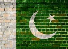 Σημαία του Πακιστάν σε έναν τουβλότοιχο Στοκ φωτογραφία με δικαίωμα ελεύθερης χρήσης