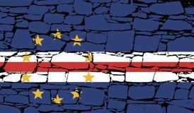 Σημαία του Πράσινου Ακρωτηρίου - Δημοκρατία του Πράσινου Ακρωτηρίου με την πέτρα Στοκ φωτογραφία με δικαίωμα ελεύθερης χρήσης